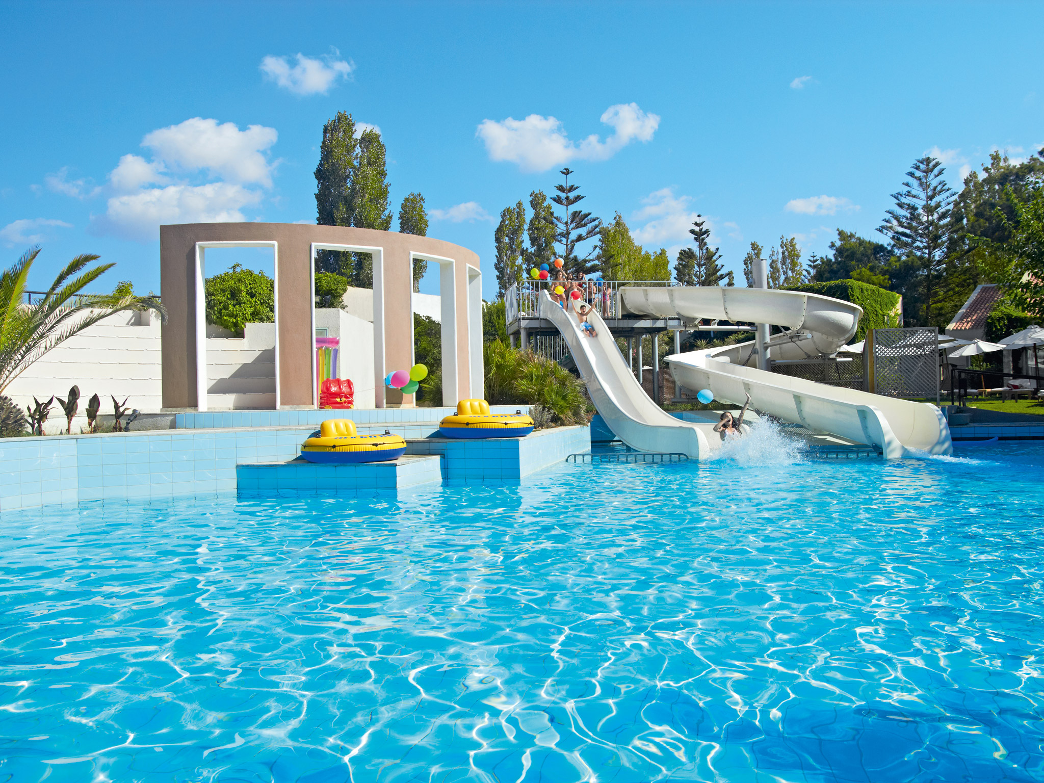 Family Pool With Waterslides