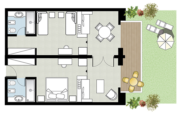 Palace Family Bungalow Suite Floorplan